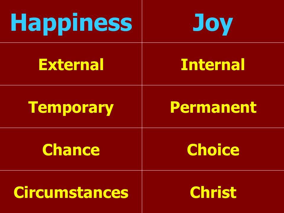 Happiness Joy External Internal Temporary Permanent Chance Choice