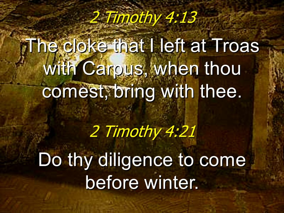 Do thy diligence to come before winter.