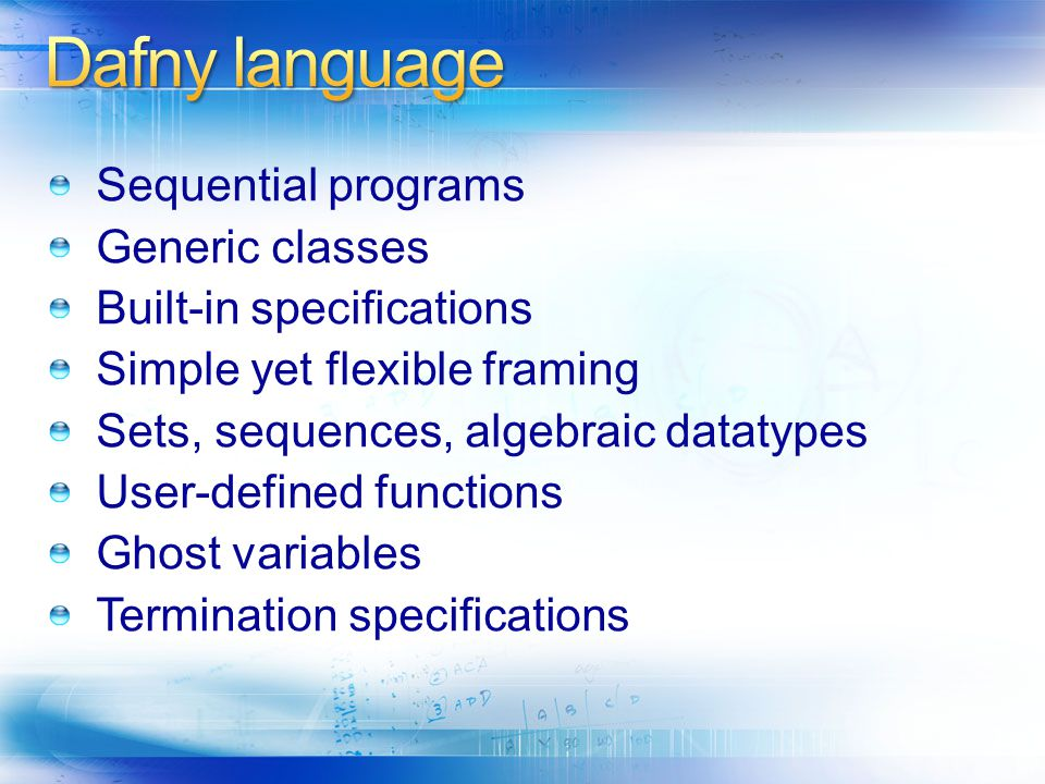 Dafny language Sequential programs Generic classes