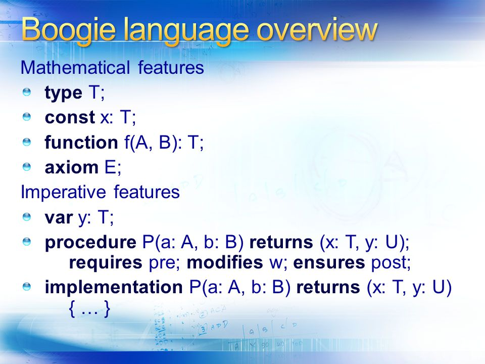 Boogie language overview
