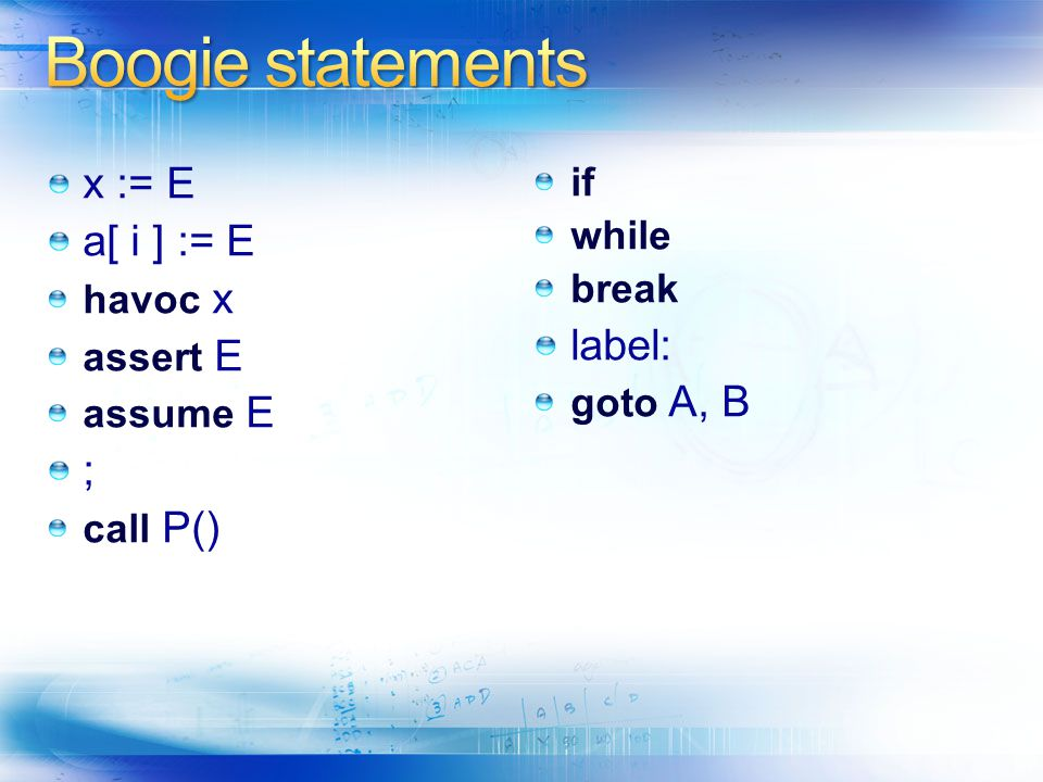 Boogie statements x := E a[ i ] := E label: ; if while break havoc x