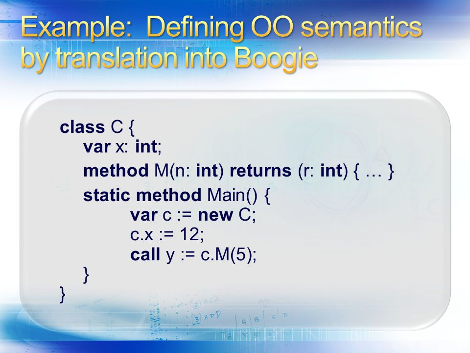 Example: Defining OO semantics by translation into Boogie