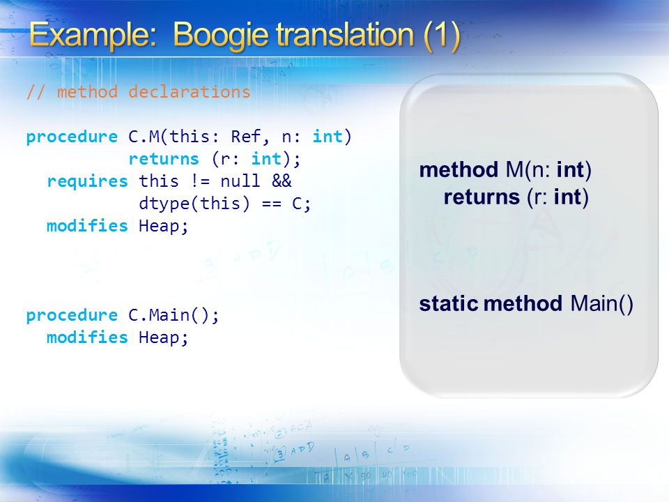 Example: Boogie translation (1)