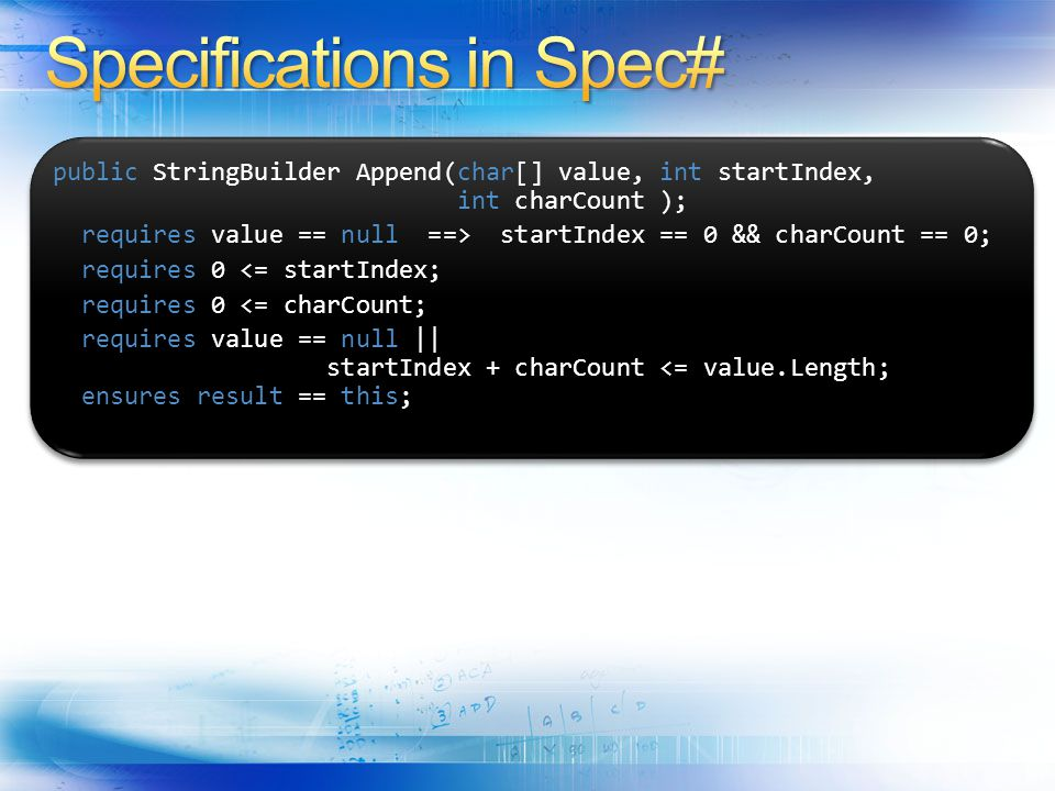 Specifications in Spec#