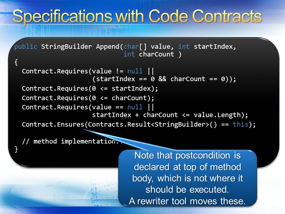 Specifications with Code Contracts