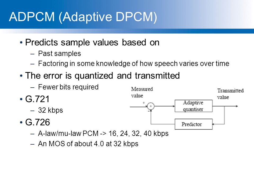 ADPCM (Adaptive DPCM) Predicts sample values based on