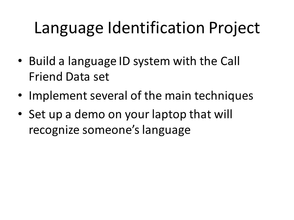 Language Identification Project