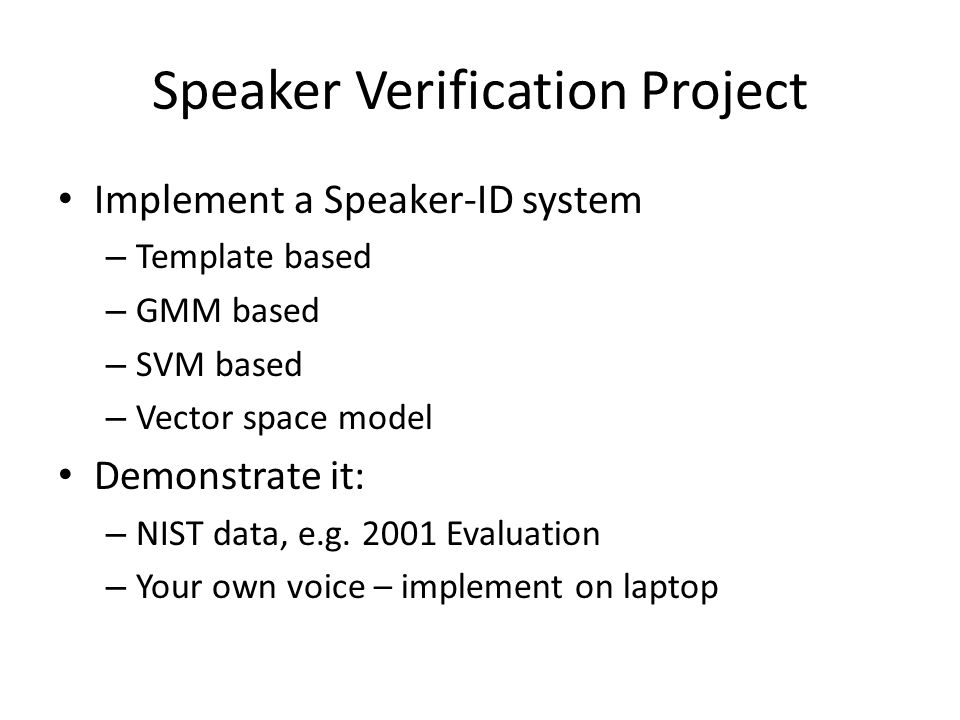 Speaker Verification Project
