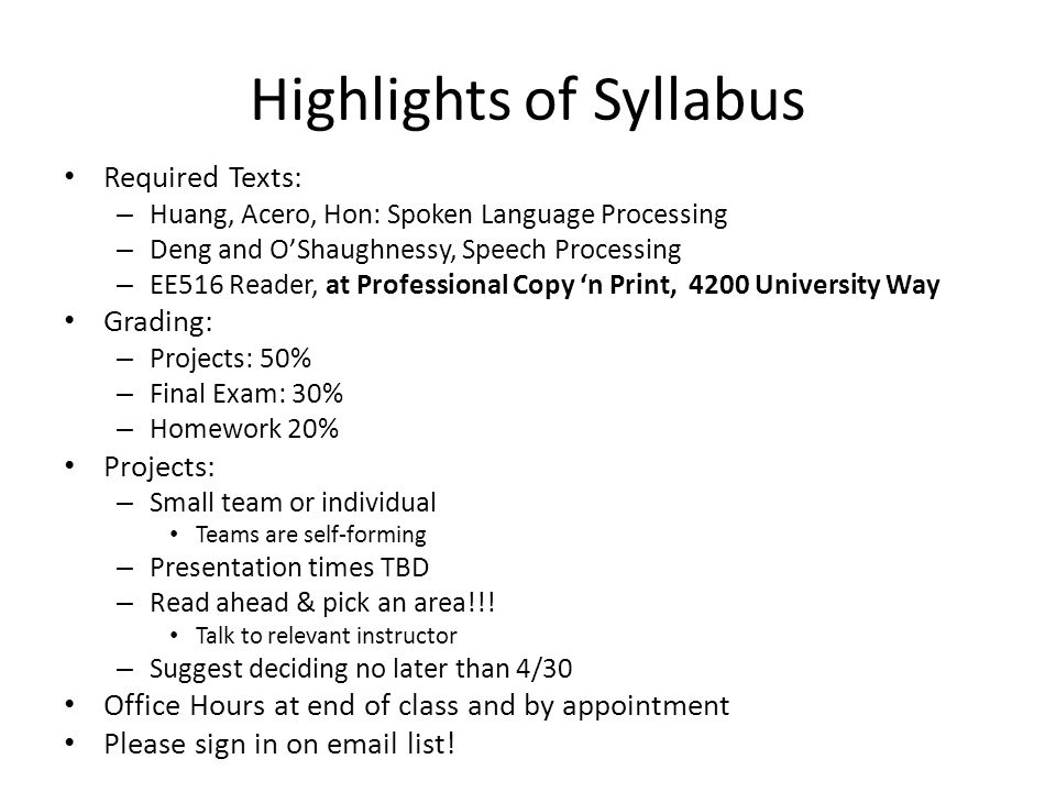 Highlights of Syllabus