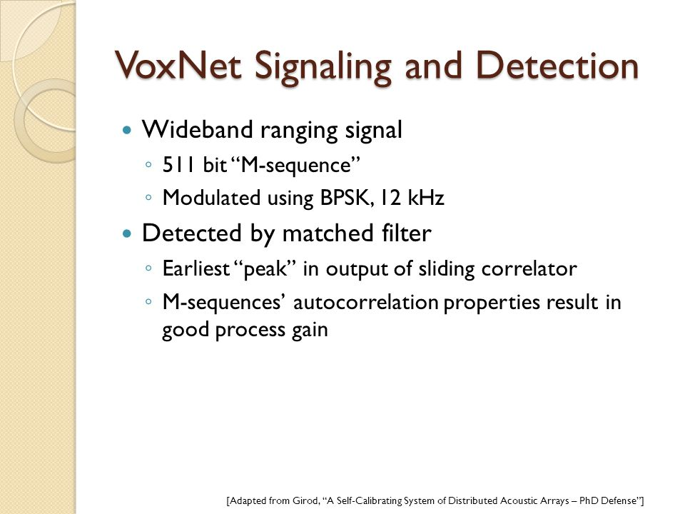 VoxNet Signaling and Detection
