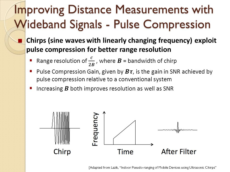 Improving Distance Measurements with Wideband Signals - Pulse Compression