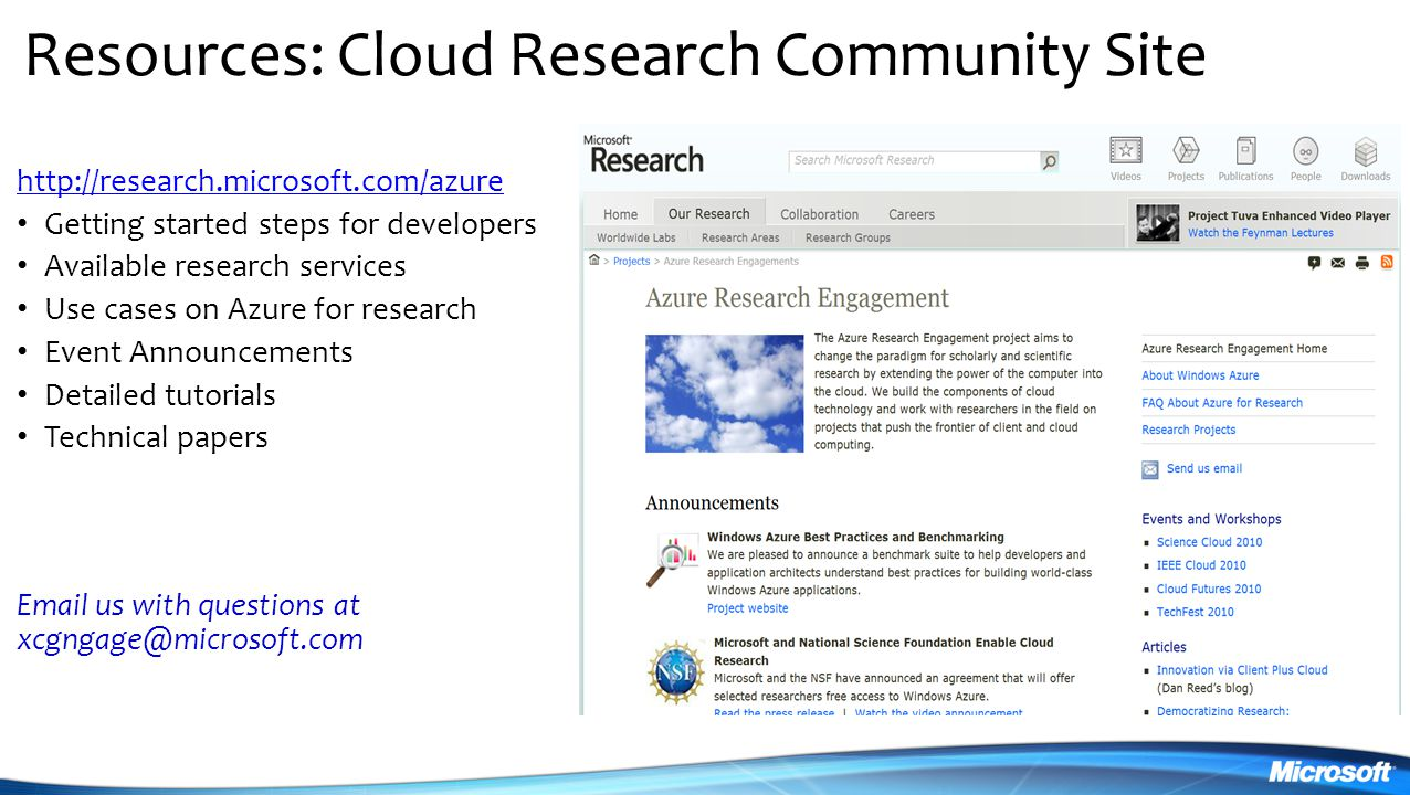 Resources: Cloud Research Community Site
