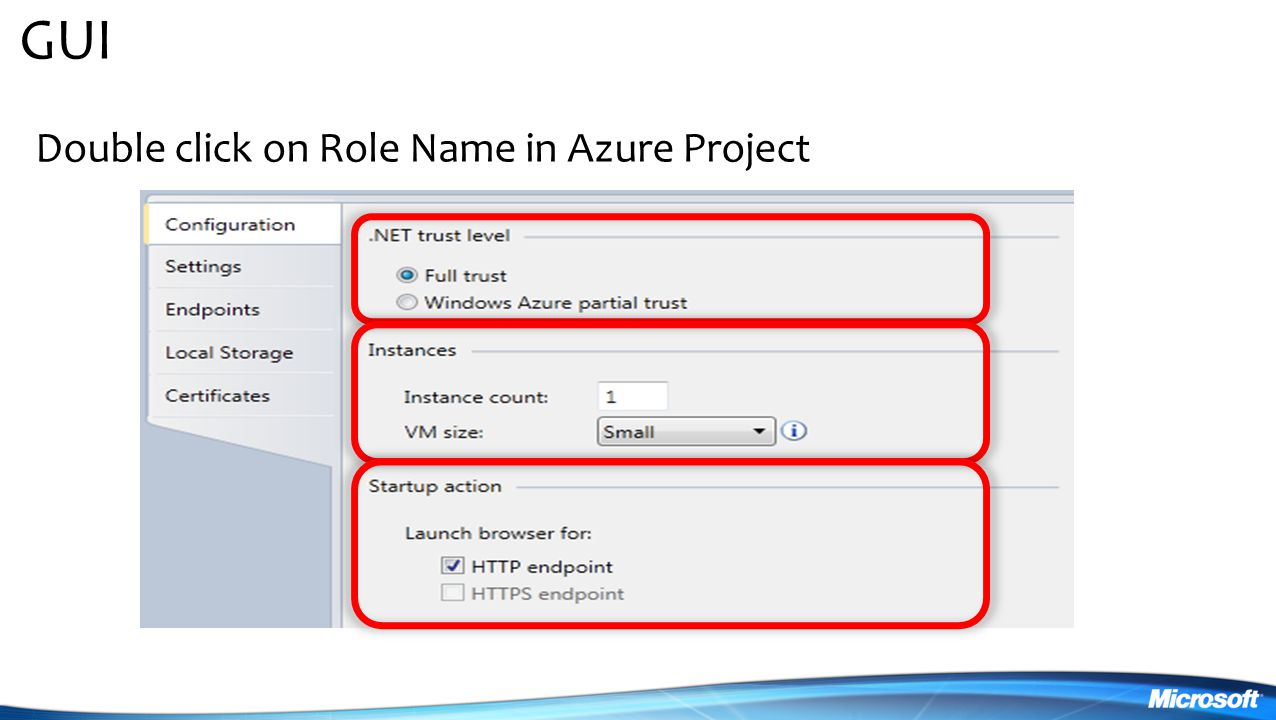 GUI Double click on Role Name in Azure Project