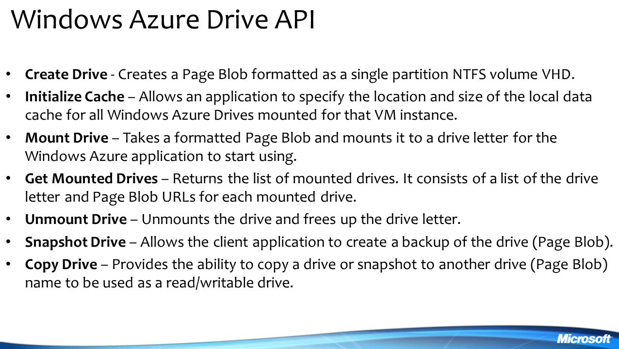 Windows Azure Drive API