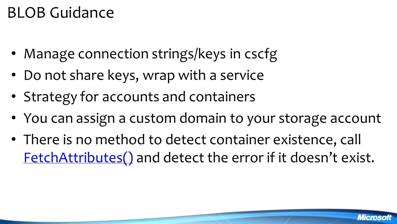 BLOB Guidance Manage connection strings/keys in cscfg