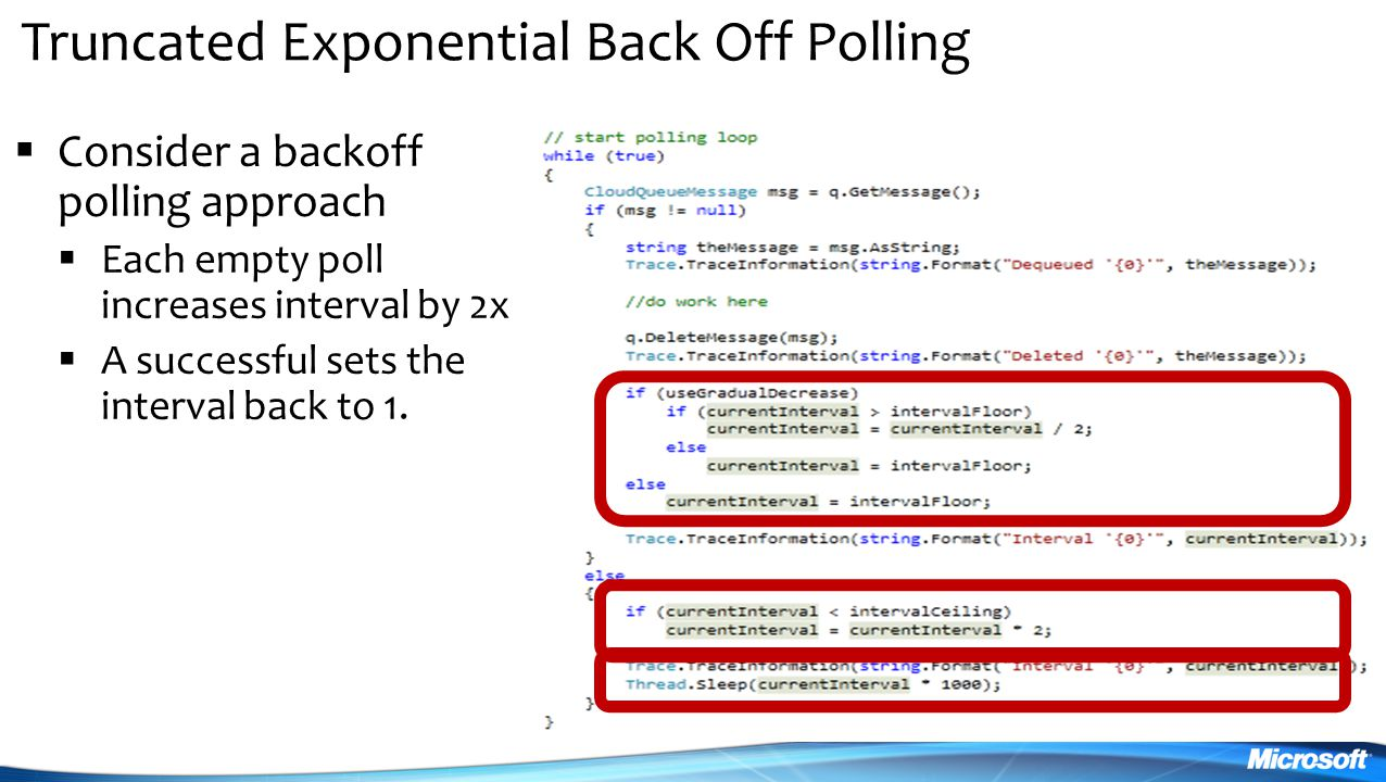 Truncated Exponential Back Off Polling