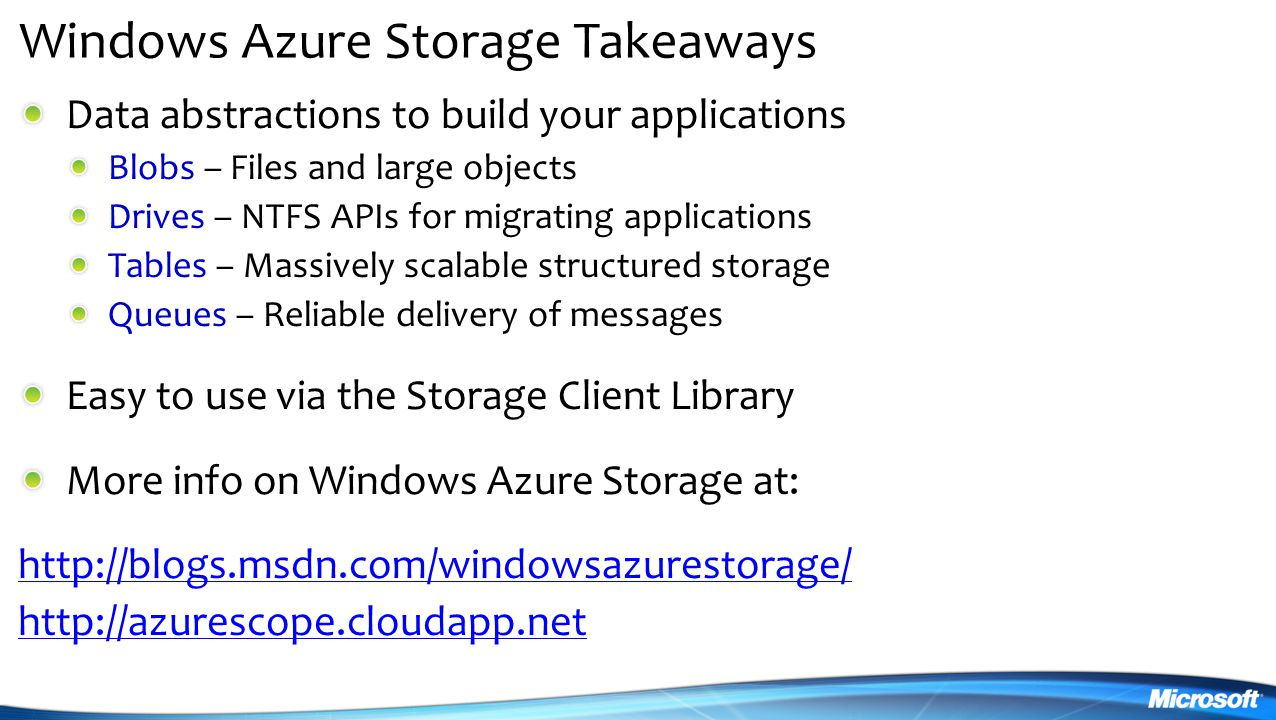 Windows Azure Storage Takeaways