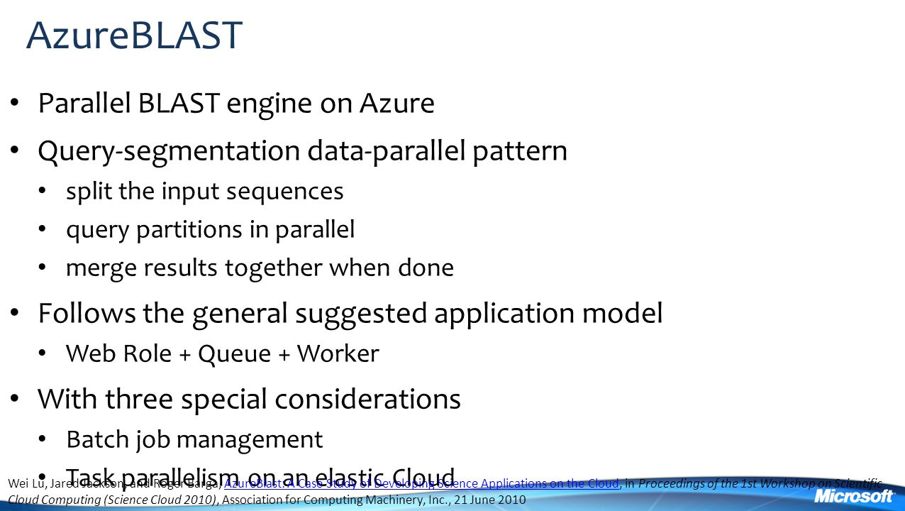 AzureBLAST Parallel BLAST engine on Azure