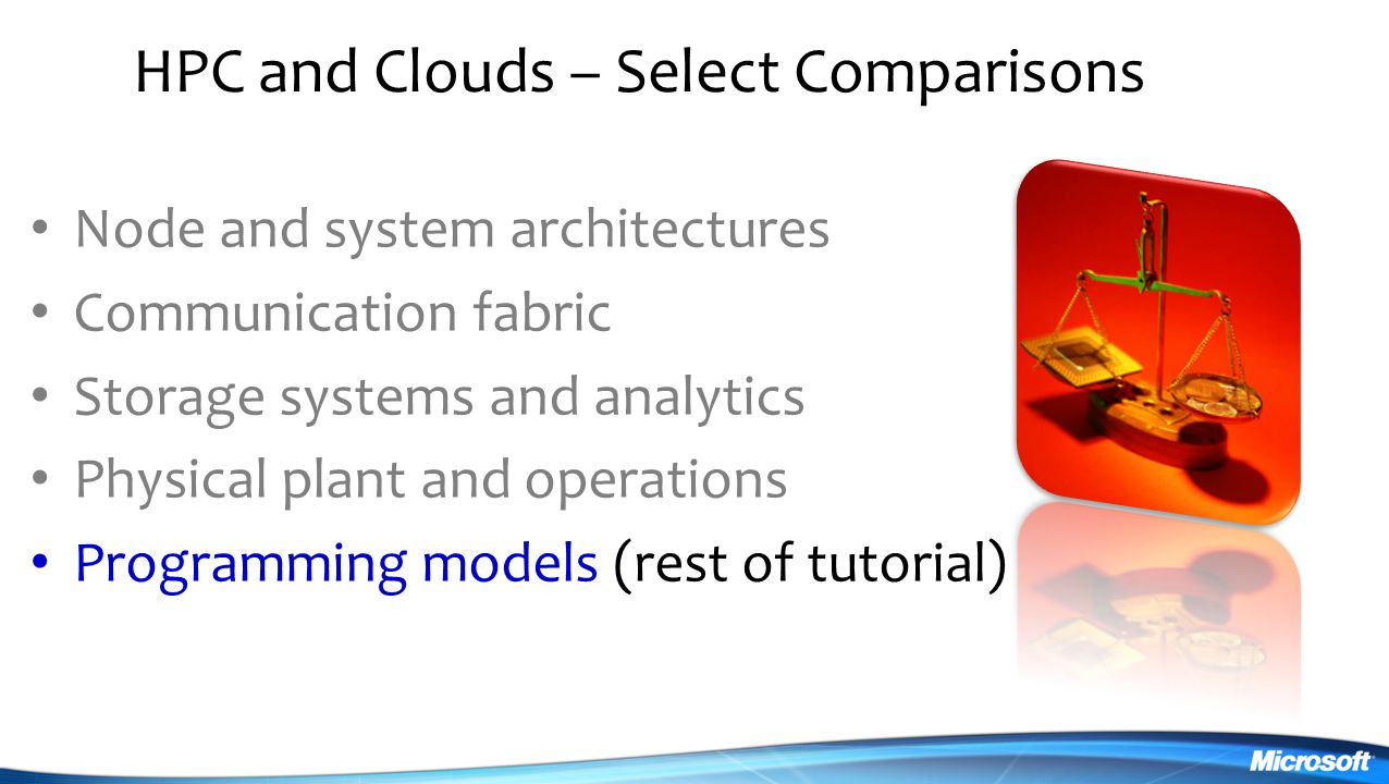 HPC and Clouds – Select Comparisons