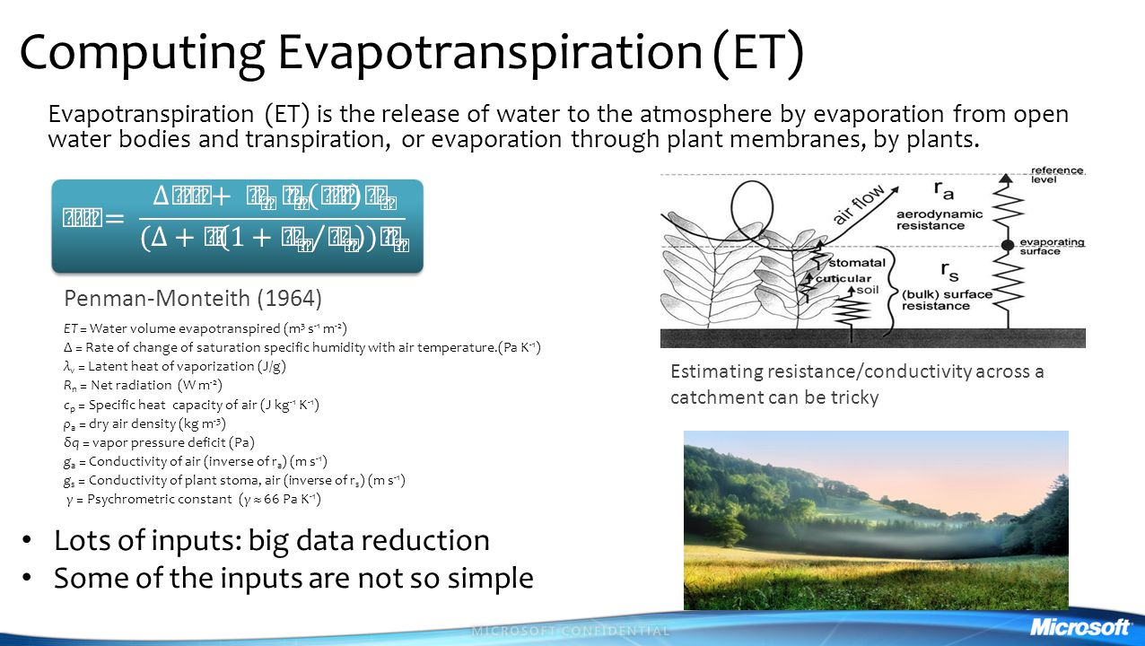 Computing Evapotranspiration (ET)