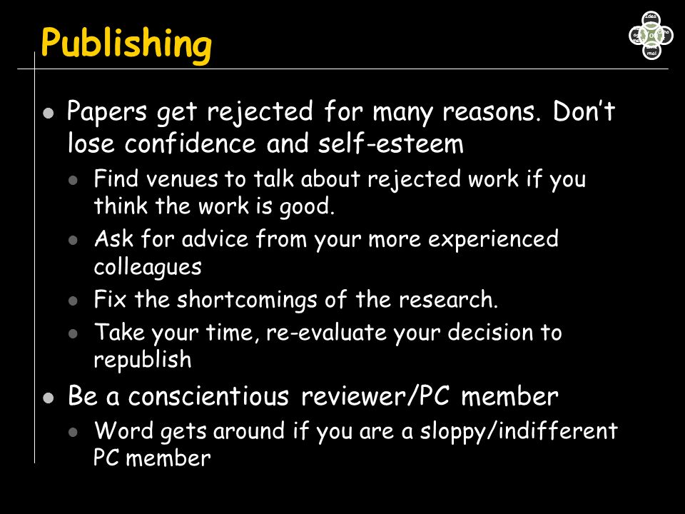 Publishing Papers get rejected for many reasons. Don't lose confidence and self-esteem.