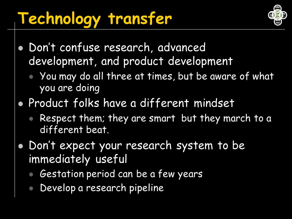 Technology transfer Don't confuse research, advanced development, and product development.