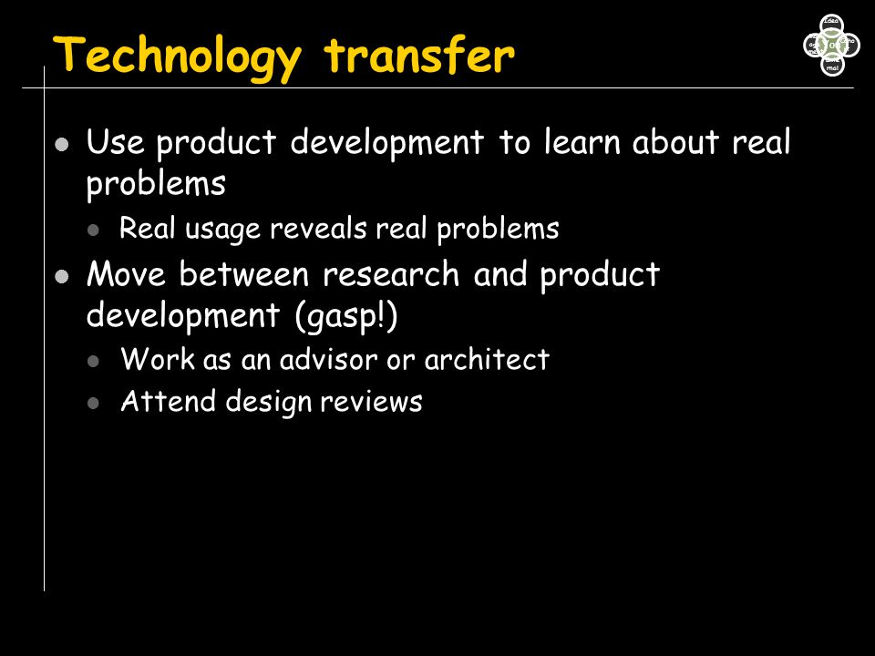 Technology transfer Use product development to learn about real problems. Real usage reveals real problems.
