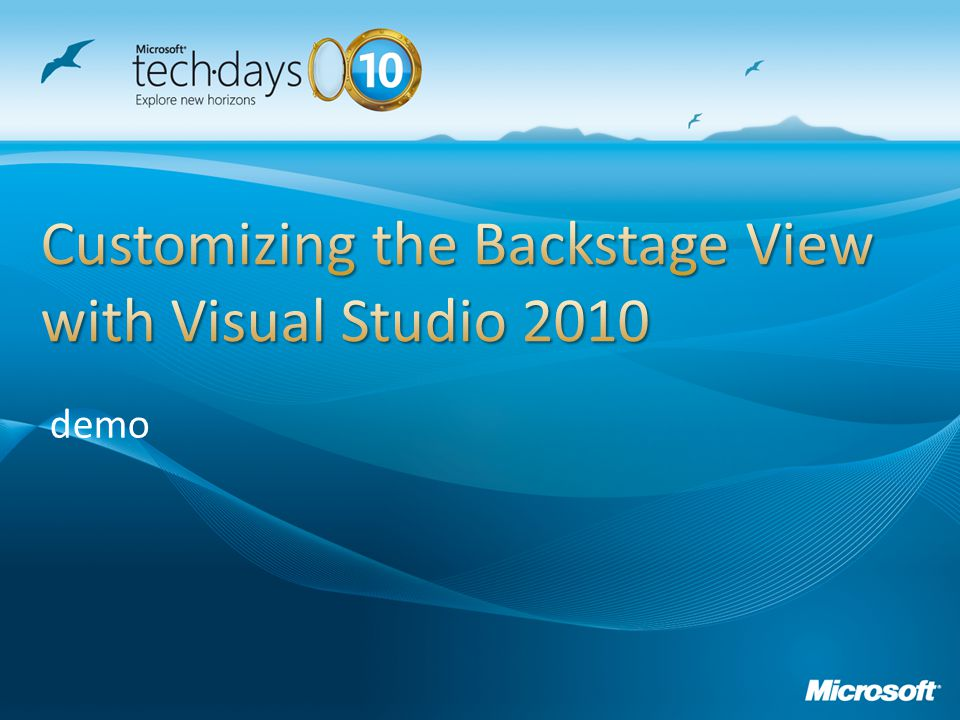 Customizing the Backstage View with Visual Studio 2010