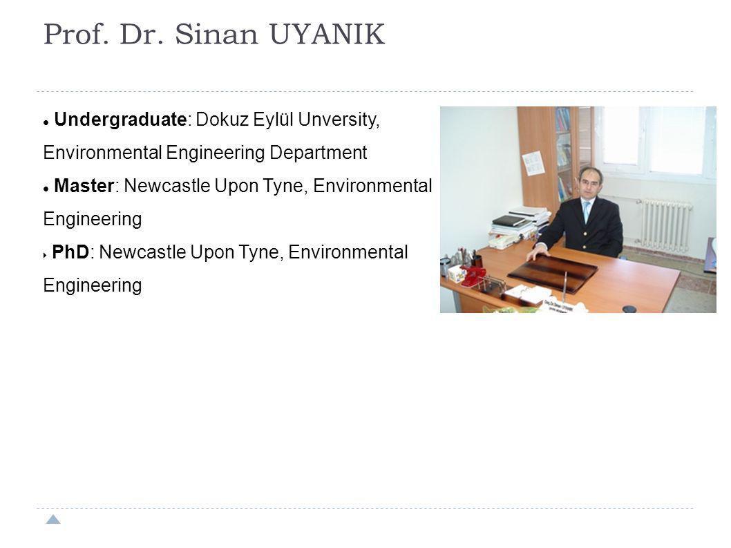 Prof. Dr. Sinan UYANIK Undergraduate: Dokuz Eylül Unversity, Environmental Engineering Department.