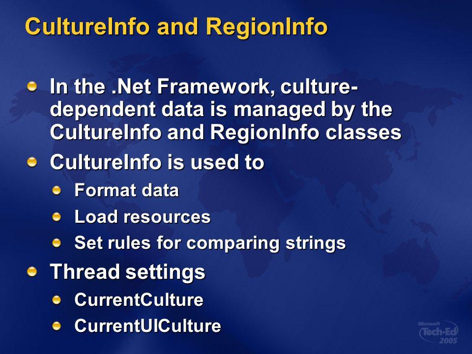 CultureInfo and RegionInfo