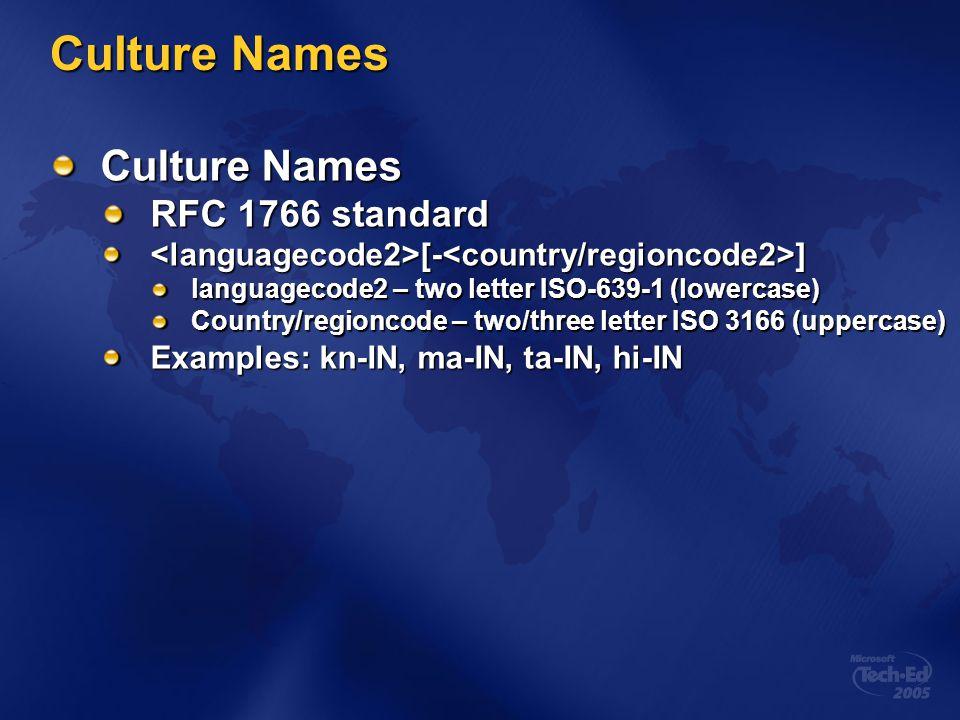 Culture Names Culture Names RFC 1766 standard