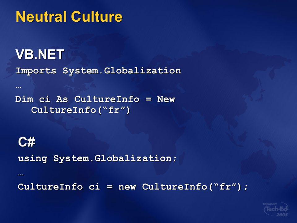 Neutral Culture VB.NET C# Imports System.Globalization …