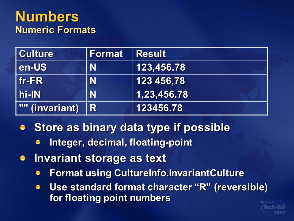 Numbers Numeric Formats
