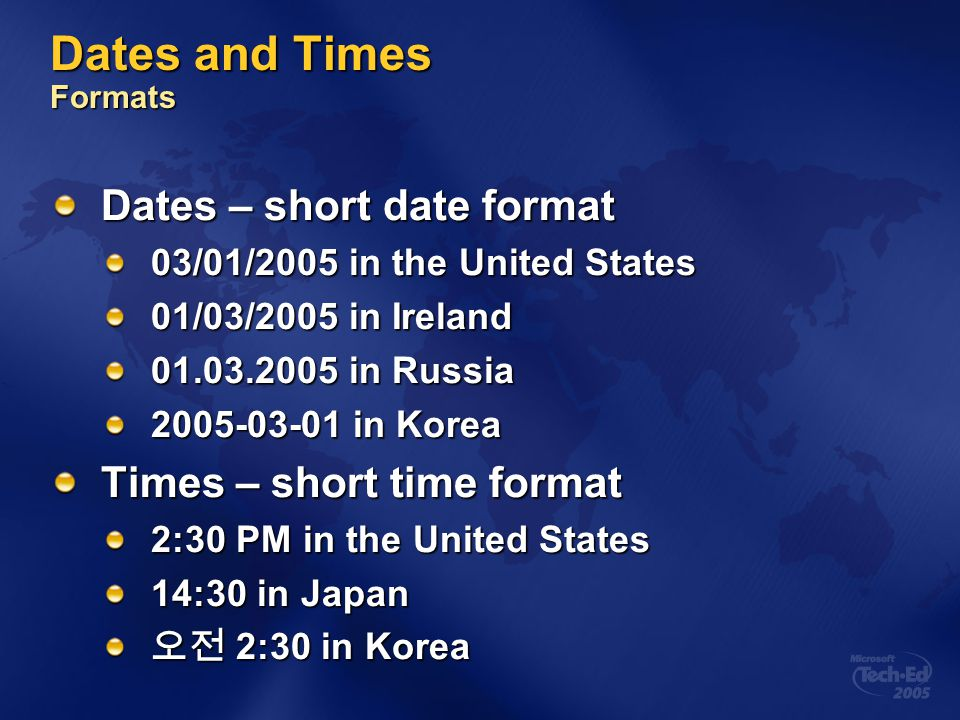 Dates and Times Formats