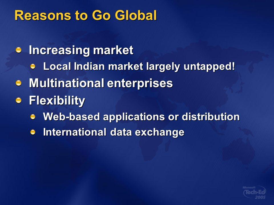 Reasons to Go Global Increasing market Multinational enterprises