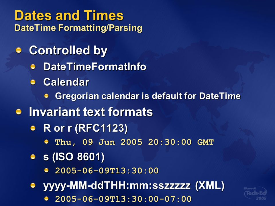 Dates and Times DateTime Formatting/Parsing