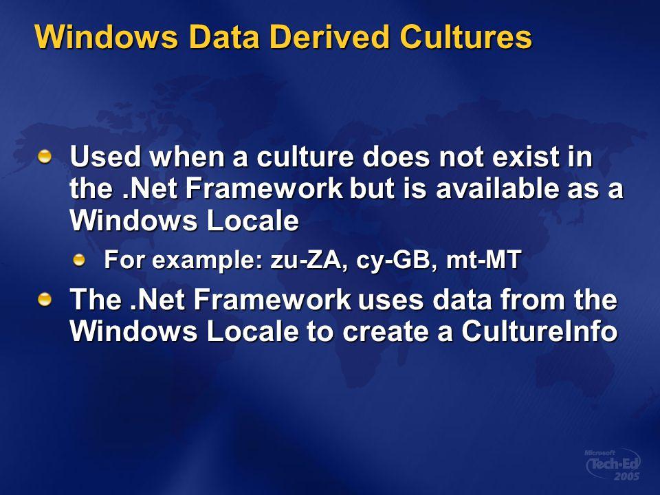 Windows Data Derived Cultures