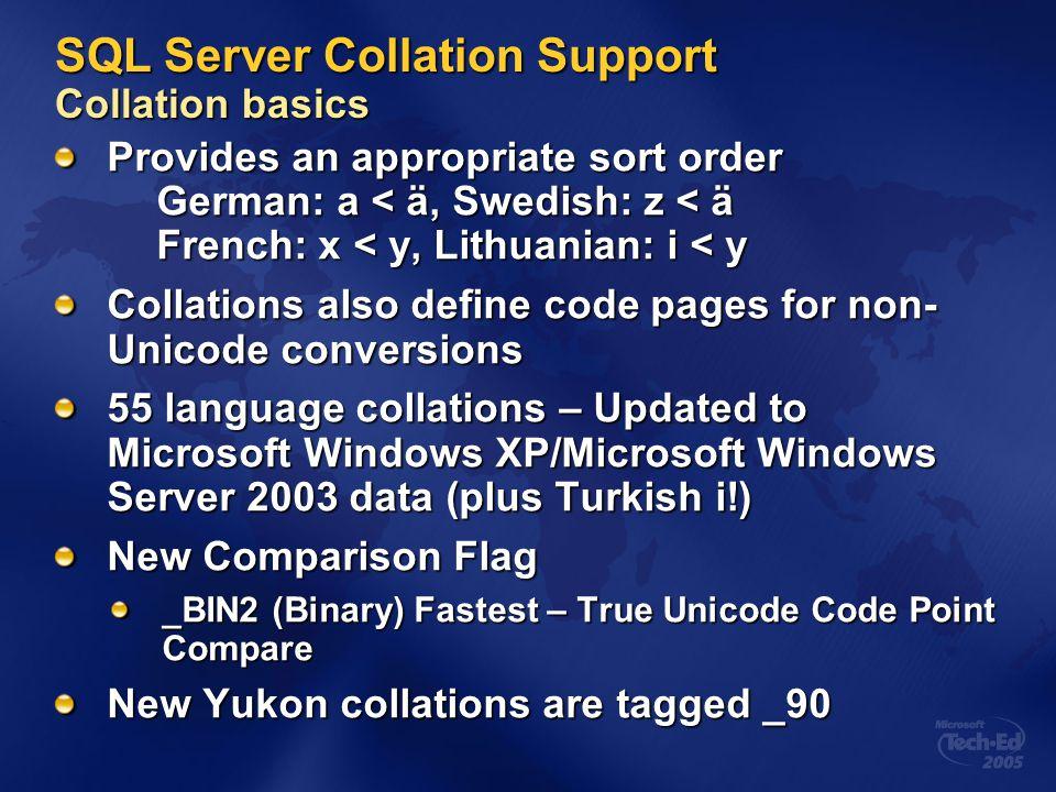 SQL Server Collation Support Collation basics