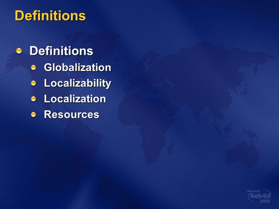Definitions Definitions Globalization Localizability Localization
