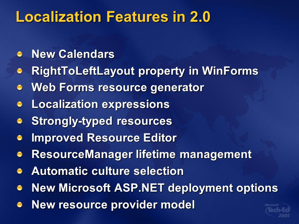 Localization Features in 2.0