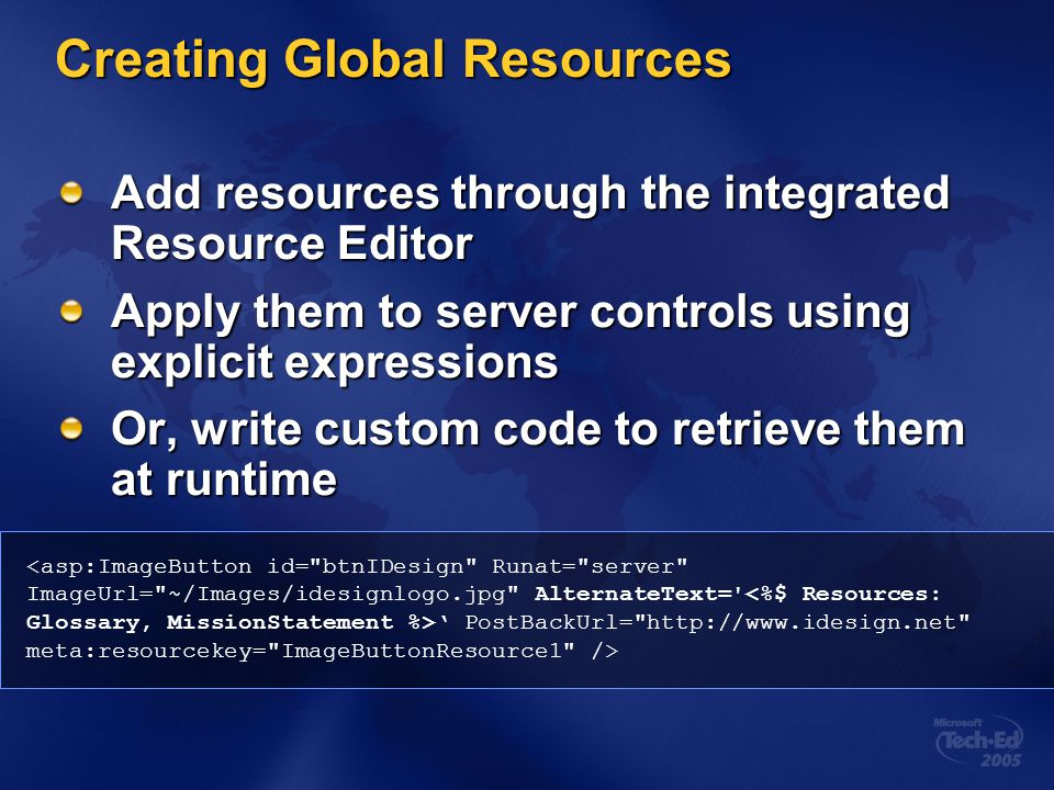 Creating Global Resources