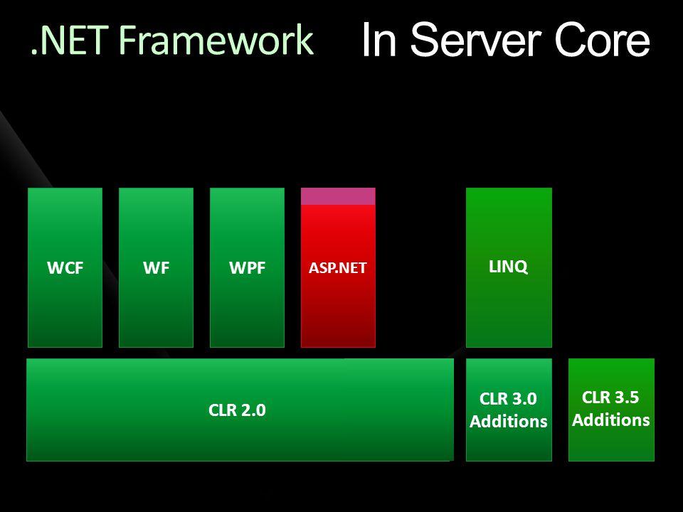 In Server Core .NET Framework WCF WF WPF LINQ CLR 2.0 CLR 3.0
