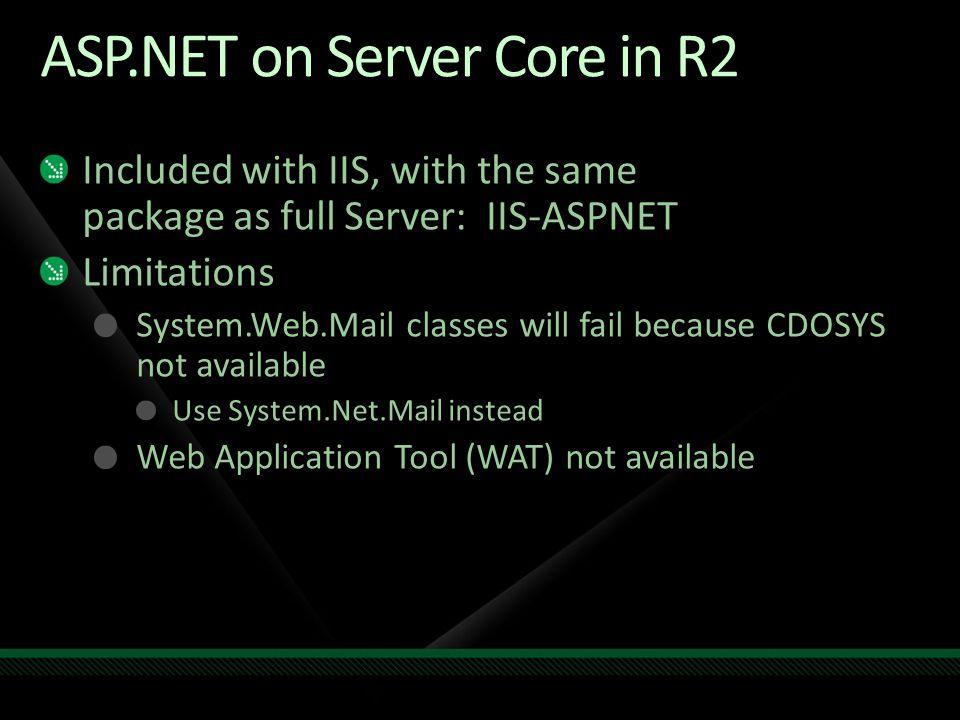 ASP.NET on Server Core in R2