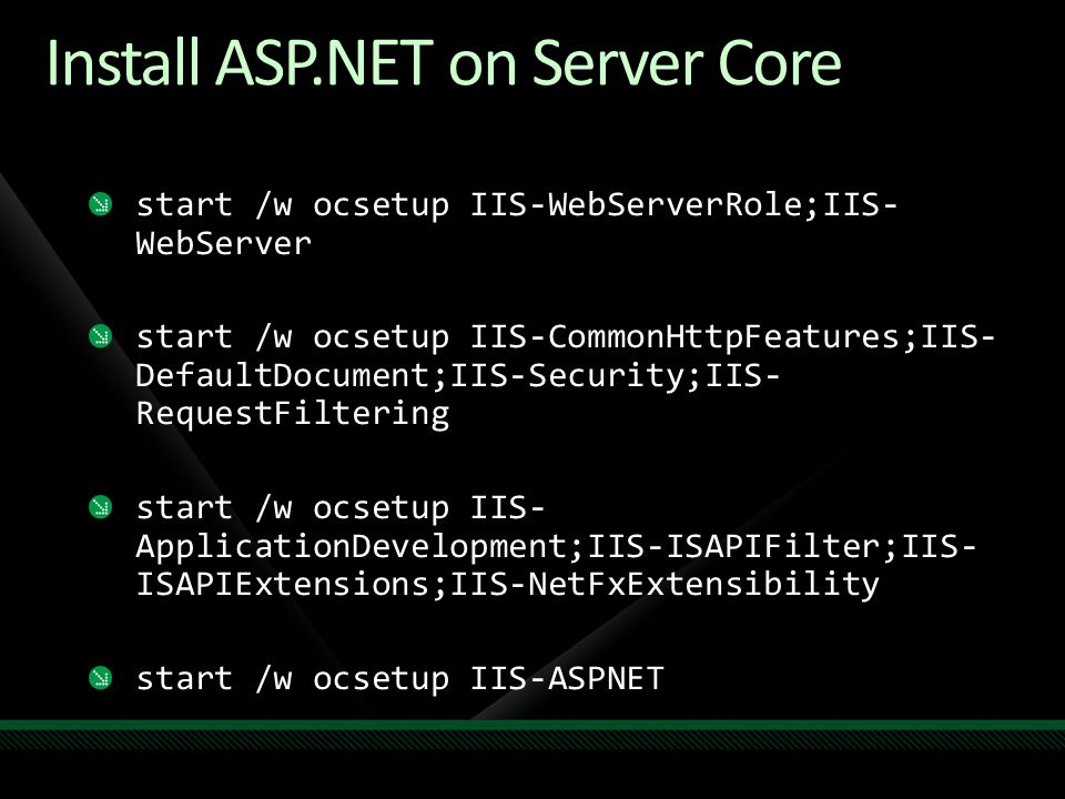 Install ASP.NET on Server Core