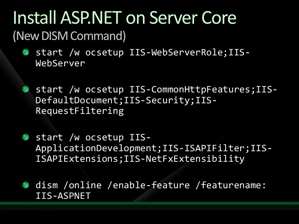 Install ASP.NET on Server Core (New DISM Command)