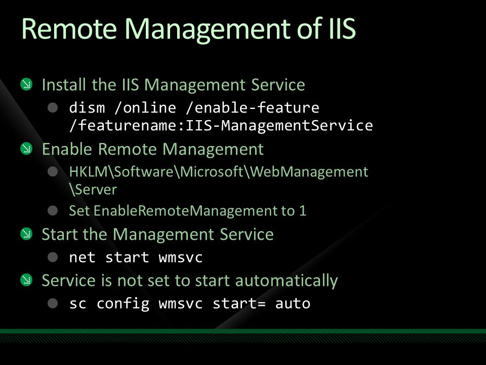 Remote Management of IIS