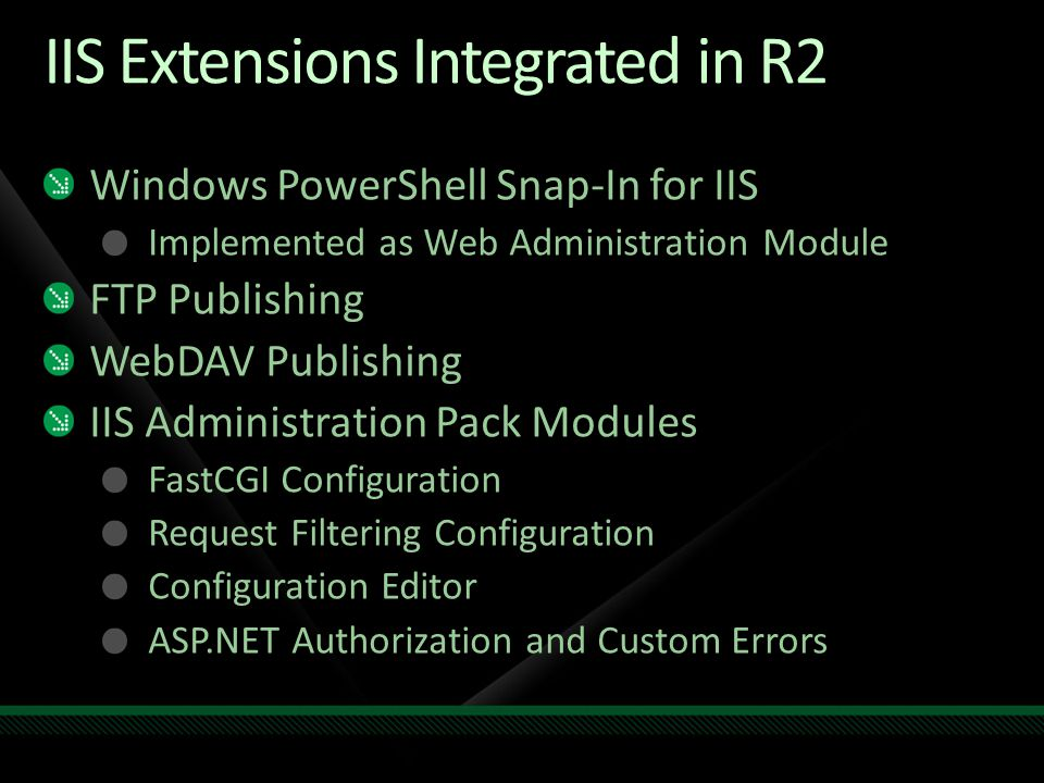 IIS Extensions Integrated in R2