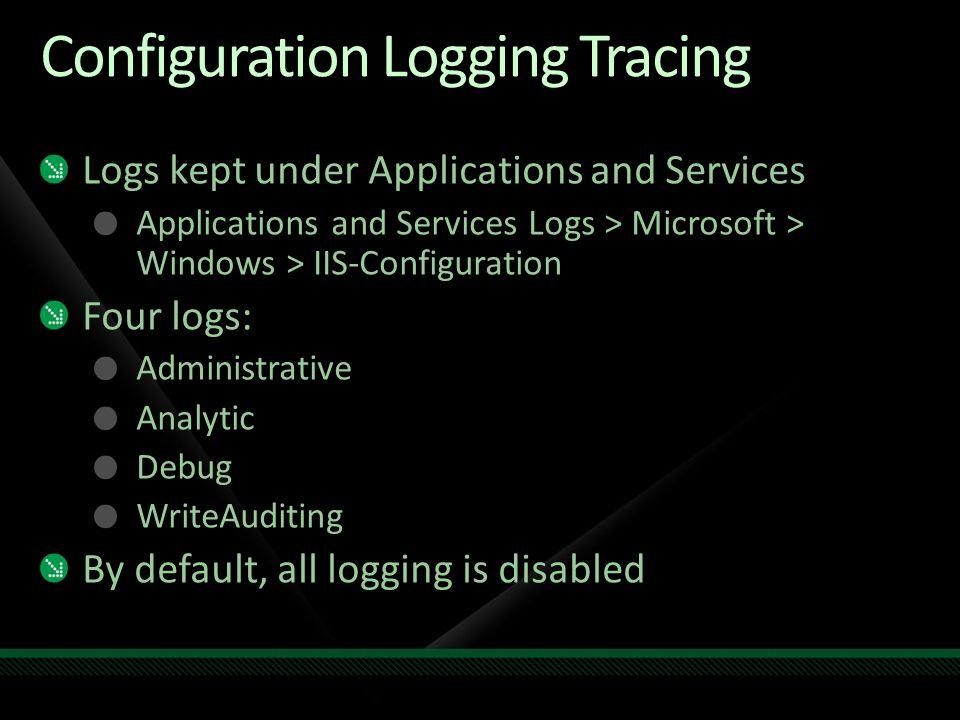 Configuration Logging Tracing