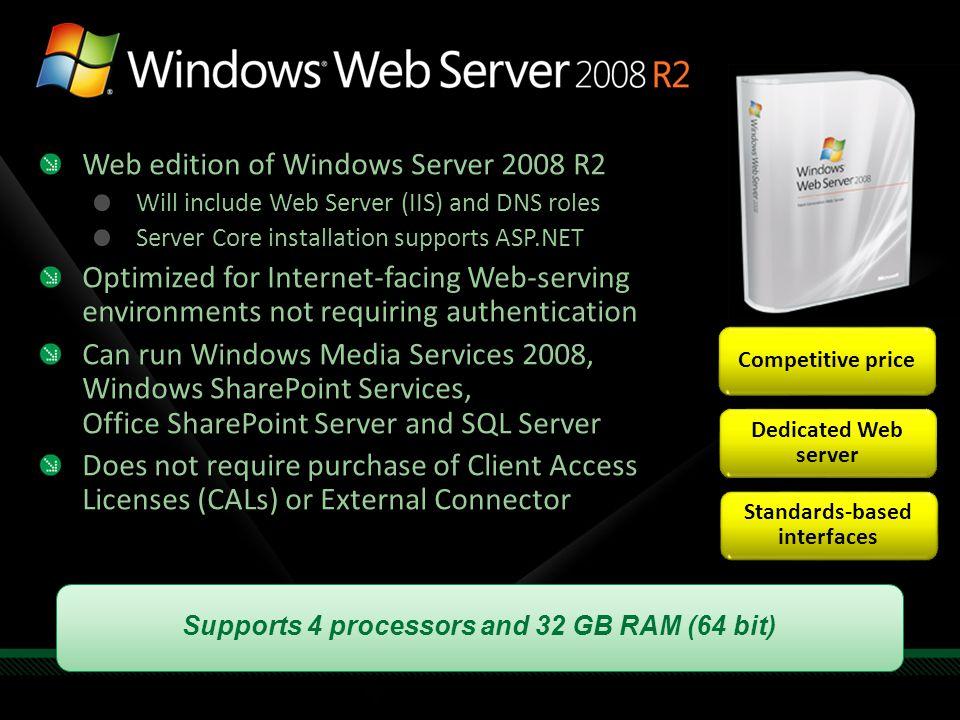 Web edition of Windows Server 2008 R2