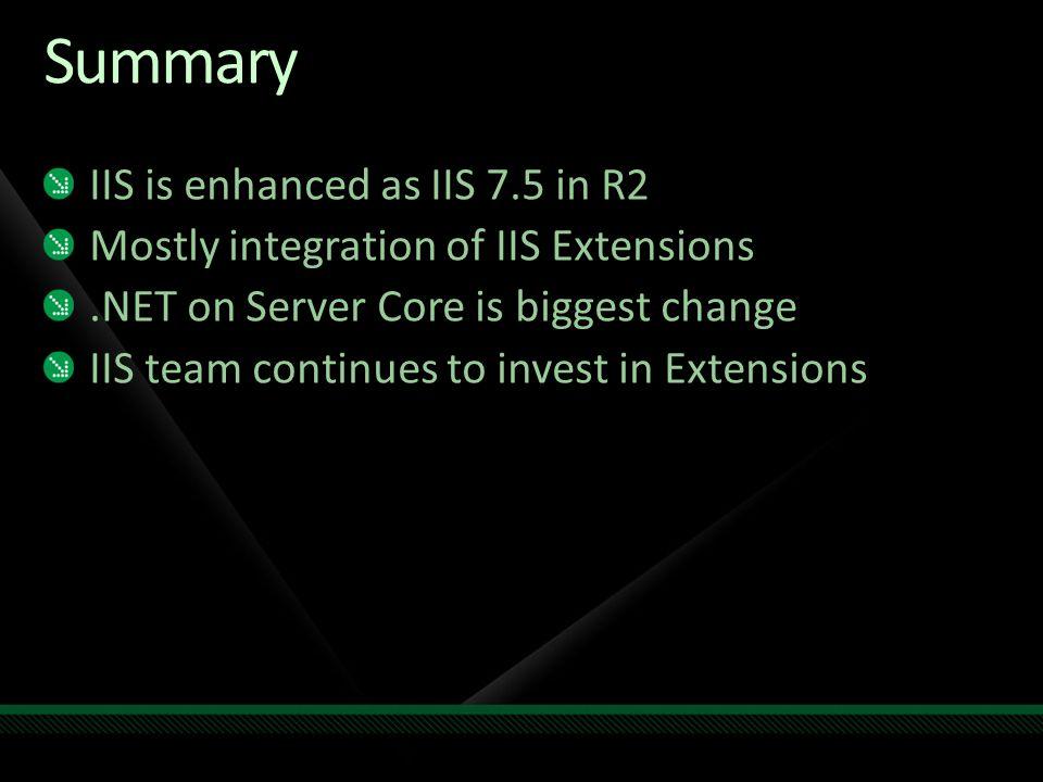 Summary IIS is enhanced as IIS 7.5 in R2